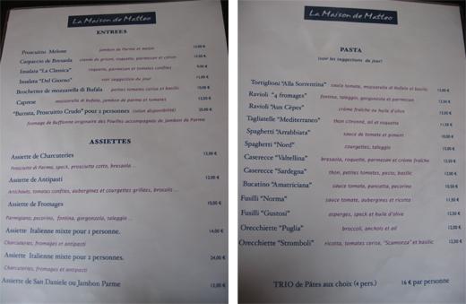 menu matteo